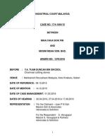Malaysian Law 16492 AWARD 23983
