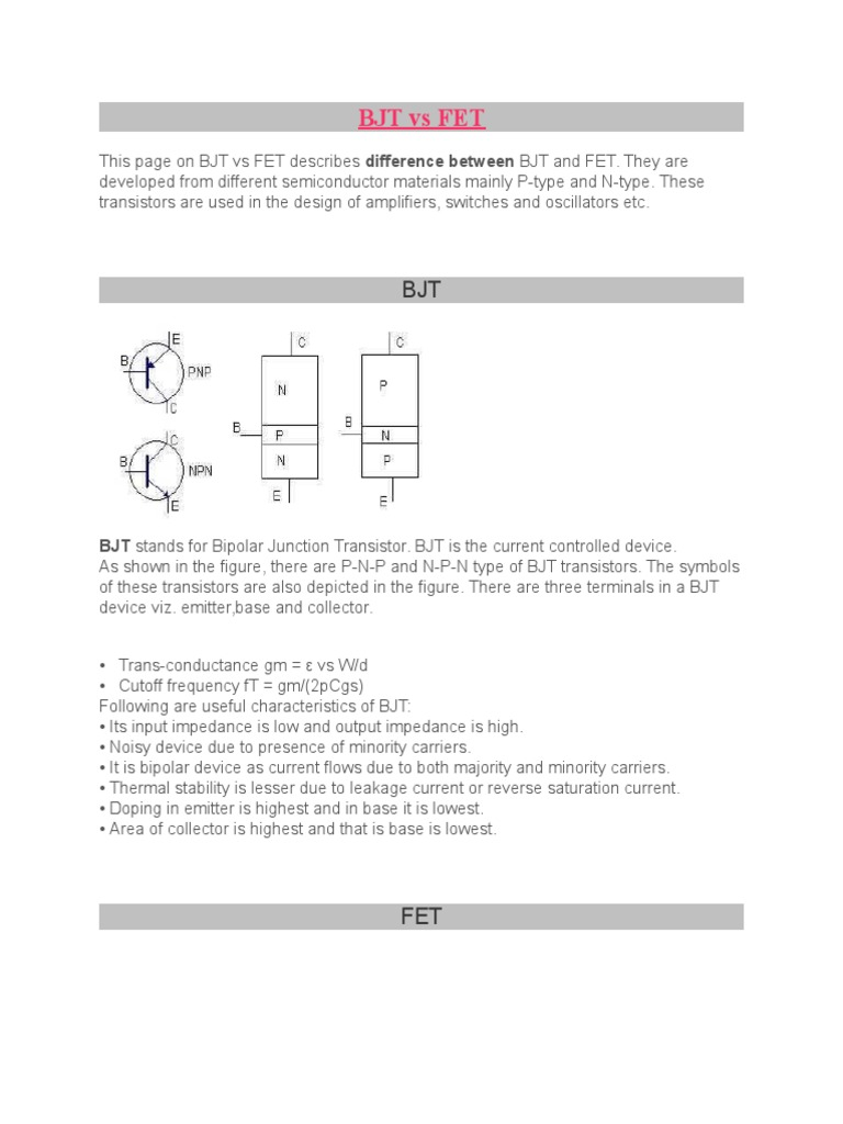 Bjt Vs Fet Field Effect Transistor Bipolar Junction Moisture Activated Relay By