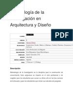 Metodología de La Investigación en Arquitectura y Diseño