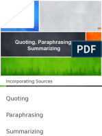 Citing Paraphrasing Summarizing