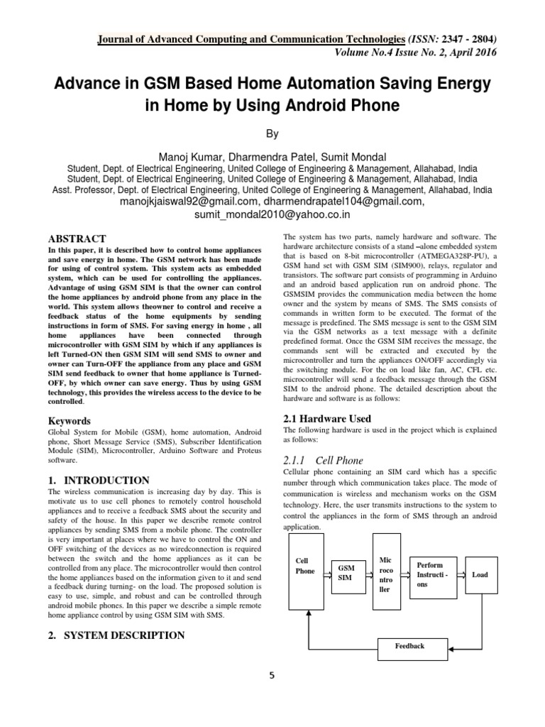 Advance in GSM Based Home Automation Saving Energy in Home by Using