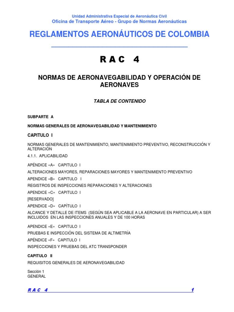 fb1bc1da82 RAC 4 - Normas de Aeronavegabilidad y Operación Aeronaves