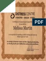 calgary distress centre volunteer certificate  2016