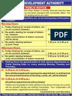 Dda Public Notice for Changing of Timing for Public Dealing in Vikas Sadan(English_300915