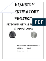 Detection of metals in Indian Coins - CHEMISTRY PROJECT