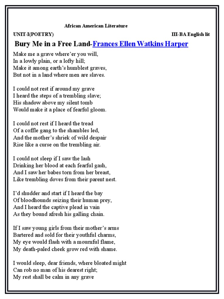 Bury Me In A Free Land Poetry Paraphrase