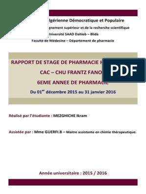 Rapport De Stage Pharmacie Hospitalière Dz Médicament