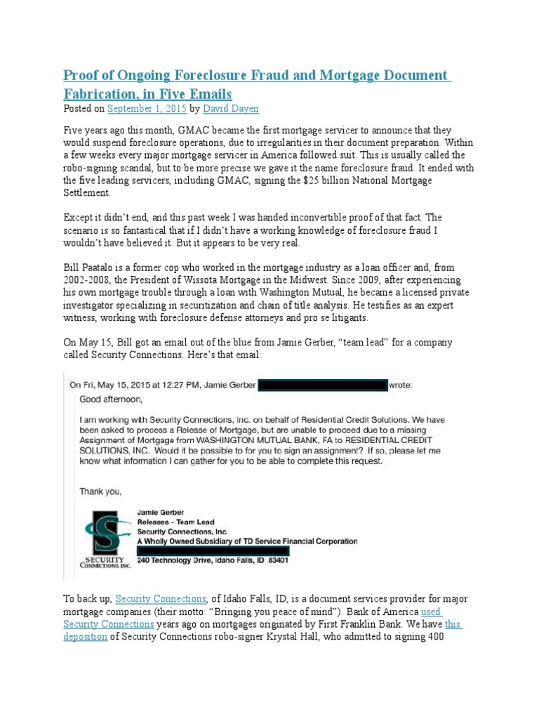 Proof of Ongoing Foreclosure Fraud and Mortgage Document Fabrication ...
