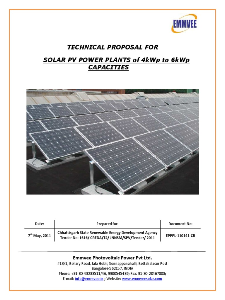 0141 4kwp To 6kwp Solar Photovoltaic Power Plants
