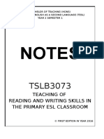 TSLB3073 Teaching Reading and Writing Skills in the Primary ESL Classroom COMPLETE SHORT BRIEF NOTES