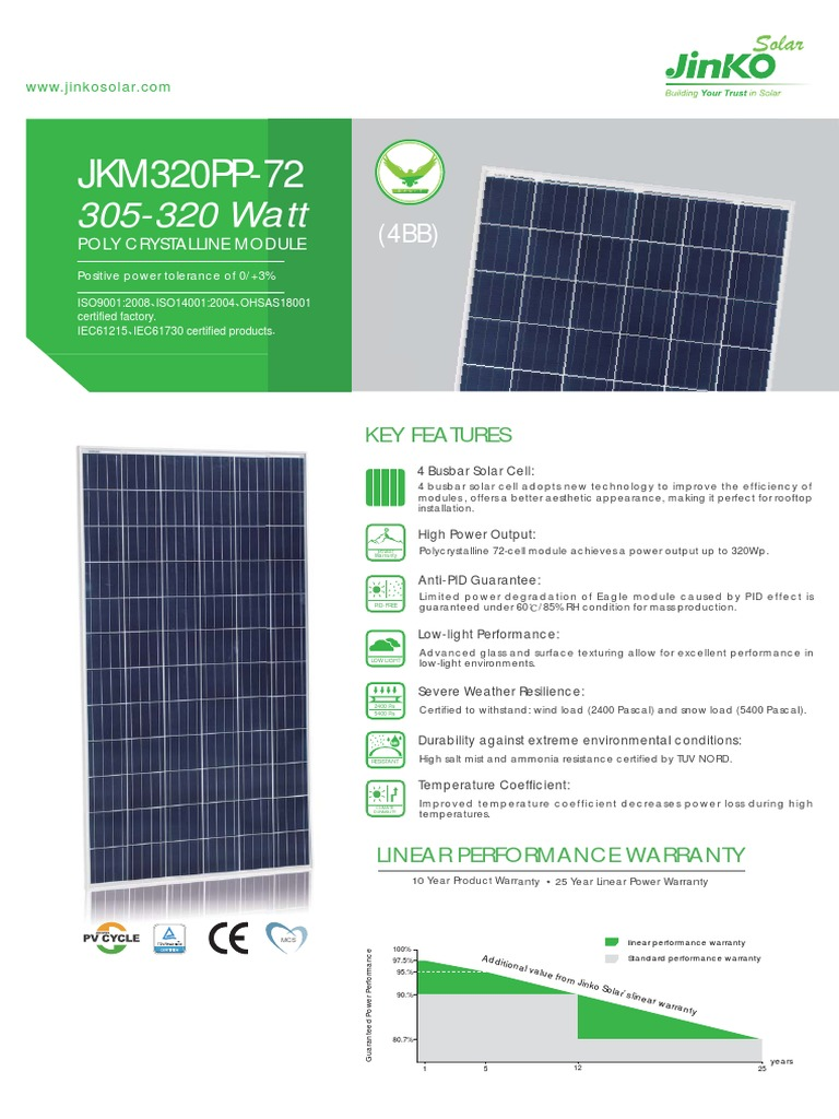 JINKO 72 CELL pdf | Solar Cell | Technology