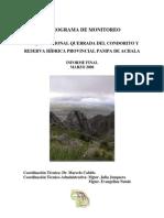 Programa de Monitoreo Parque Nacional Quebrada del Condorito.Córdoba.Argentina