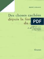 Rene Girard, Des Choses Cachees Depuis La Fondation Du Monde