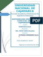 DISPONIBILIDAD HIDRICA EN LA  CUENCA DEL  VALLE  CAJAMARQUINO