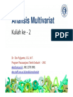 Materi Ke - 2 Analisis Multivariat - 2015