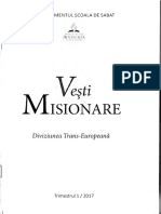 Vești Misionare A Școalei de Sabat Trimestrul 1 Anul 2017 Româna