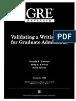 Validating Graduate Exam