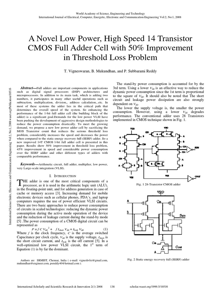 A Novel Low Power High Speed 14 Transistor Cmos Full Adder Cell With Gate Logic Diagram Additionally 1 Bit Circuit 50 Improvement In Threshold Loss Problem Electronic Circuits