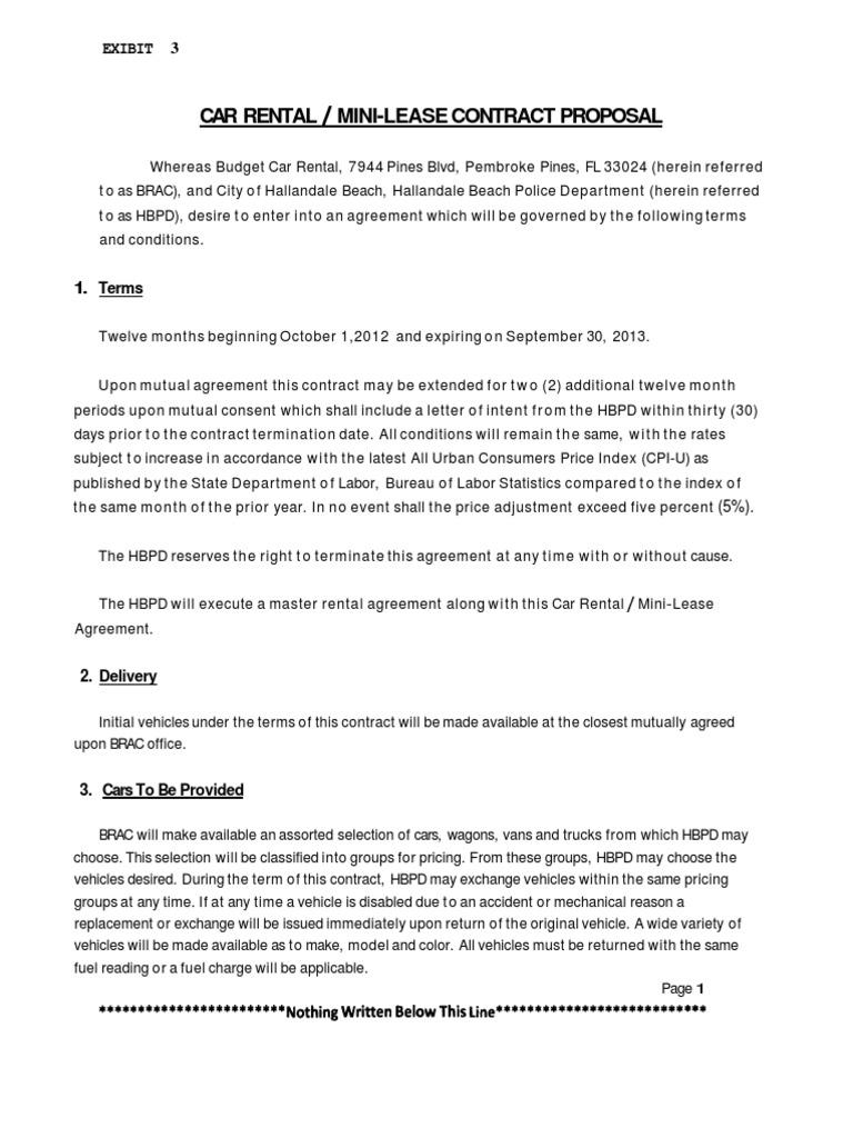 Car Rental Mini Leasecontract Proposal Insurance Automotive