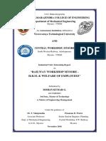 Internship Report _ Human Resource Management _ Central Railway Workshop, Mysore _ by Mohan Kumar G