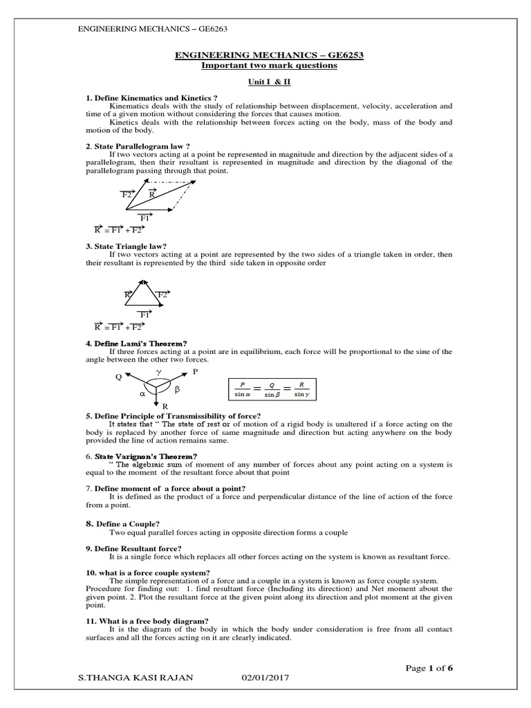 Ge6253 2 Mark Question Engineering Mechanics Friction Acceleration Freebody Diagram Is A Simple With Arrows To Represent The