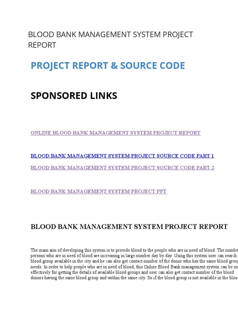 srs for blood bank management system doc
