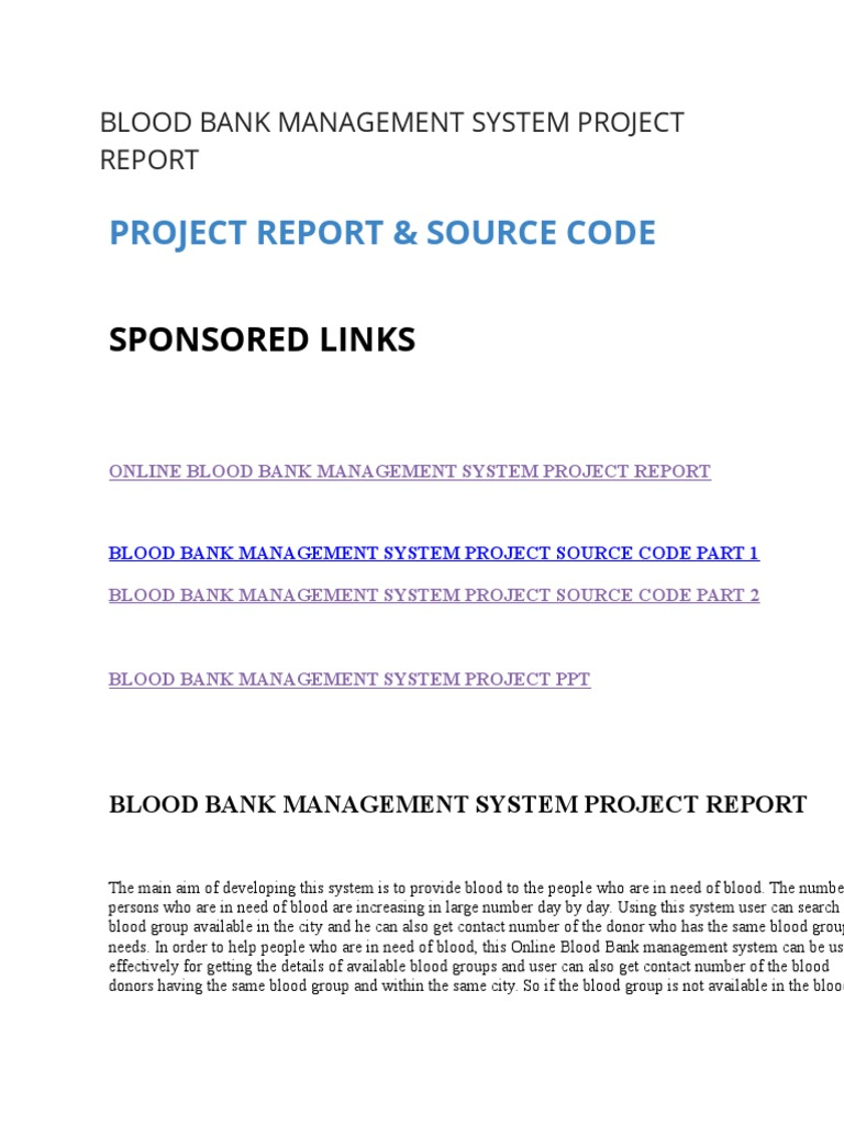 BLOOD BANK MANAGEMENT SYSTEM PROJECT REPORT docx | Blood