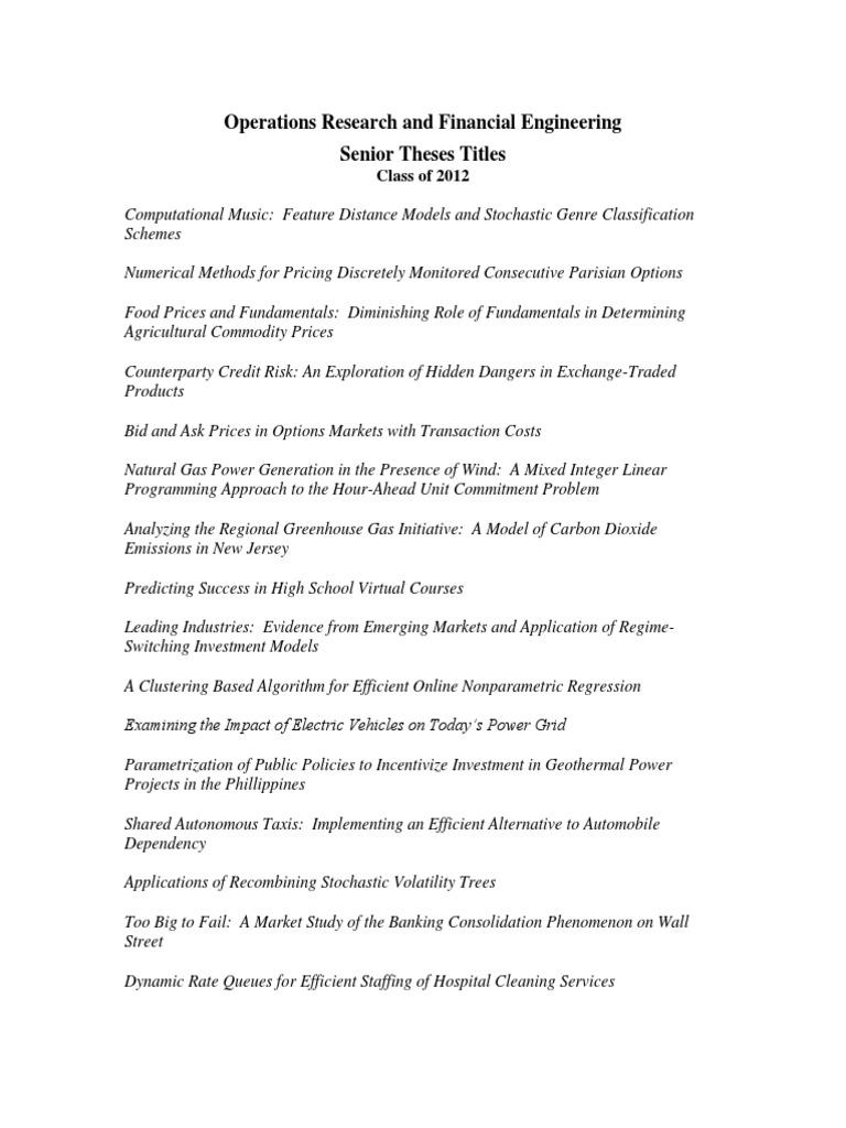 The Senior Thesis | Academics | Carthage College