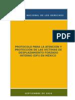 Protocolo para la atención y protección de las víctimas de desplazamiento forzado interno en México - CNDH - Sep 2016