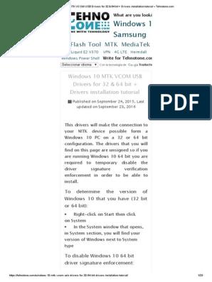 Windows 10 MTK VCOM USB Drivers for 32 & 64 bit + Drivers