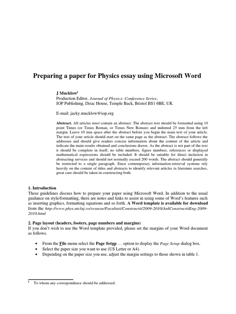 the template for physics essay doc bracket abstract summary