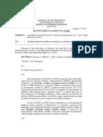 Revenue Regulation No. 11-2012 Amendment to RR 01-2011 Income Earnings of OFW-OCW