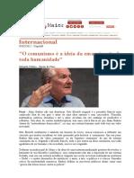 BADIOU, A. O Comunismo e a Ideia Da Emancipação de Toda Humanidade (Entrevista a Carta Capital)