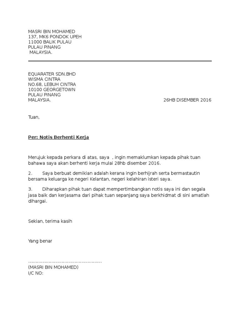 contoh surat berhenti kerja notis sebulan