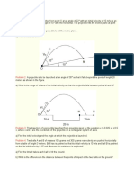 Projectile Motion Seatwork