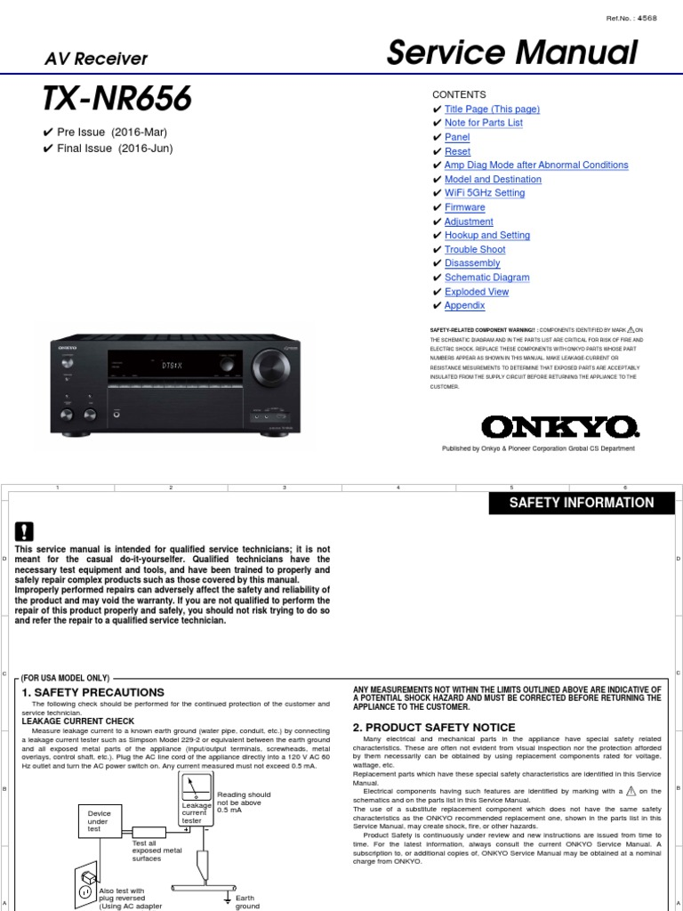 onkyo-TX-NR656 pdf | Printed Circuit Board | Ac Power Plugs And Sockets