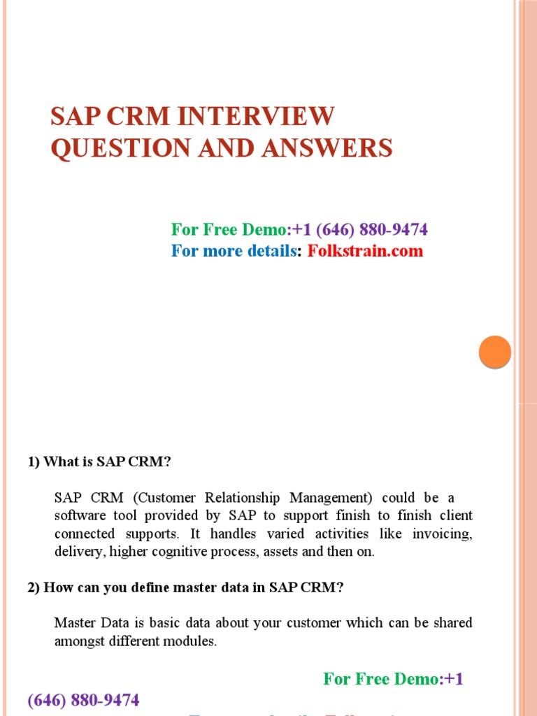 SAP Customer Relationship Management Certification Review SAP Crm Interview Questions and Explanations Answers
