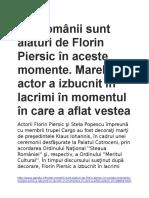 Toţi Românii Sunt Alături de Florin Piersic În Aceste Momente