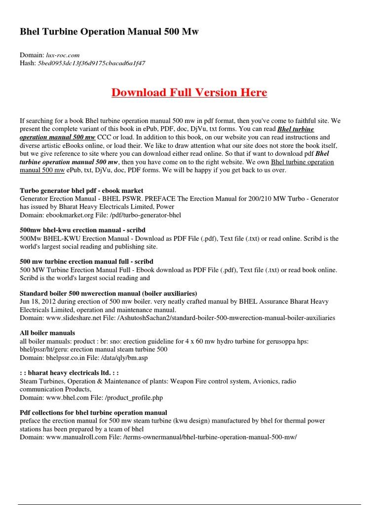 Bhel Boiler Operation Manual 210 Mw - Free User Guide •