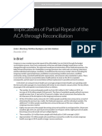 Urban Institute Implications of Partial Repeal of ACA