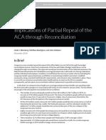 Urban Institute Implications of Partial Repeal of ACA