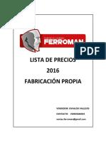 Lista de Precios Ferroman