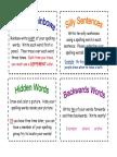 homework - spelling activity card