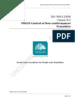 PR020 Control of Non Conformances Procedure