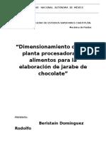 Dimensionamiento de una planta procesadora de alimentos para la elaboración de jarabe de chocolate