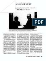 Two Australian Researchers Win 1992 Munro Prize 1993