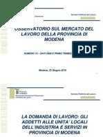 Mercato del Lavoro - Osservatorio Provincia di Modena - Slide