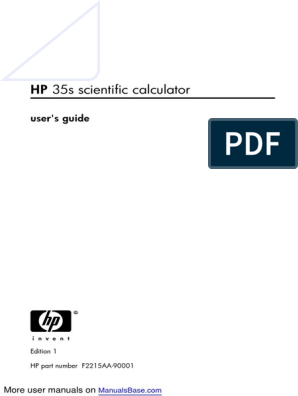 HP 35S Scientific Calculator 35s pdf | Menu (Computing) | Exponentiation