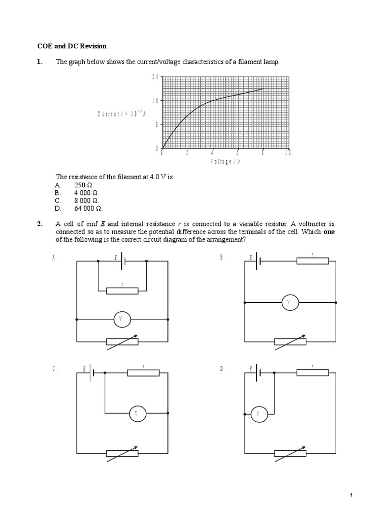 S4 Coe And Dc Revision Voltage Electrical Resistance Conductance Circuit Diagram Variable Resistor