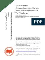 Critica Del Non Vero Per Una Teoria Dell'Interpretazione in Adorno